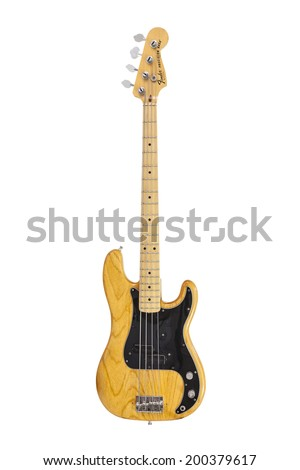 LOS ANGELES, CALIFORNIA - June 19, 2014:  Illustrative editorial photo of vintage Fender Precision electric bass guitar on white background. - stock photo