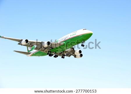 LOS ANGELES/CALIFORNIA - MAY 10, 2015: Air Cargo Boeing 747 jet on approach to runway at Los Angeles International Airport in Los Angeles, California, USA - stock photo