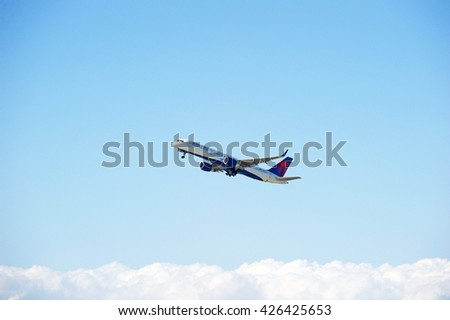 LOS ANGELES/CALIFORNIA - MAY 21, 2016: Delta Air Lines Boeing 757 commercial aircraft is airborne as it departs Los Angeles International Airport, Los Angeles, California USA - stock photo