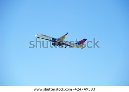 LOS ANGELES/CALIFORNIA - MAY 21, 2016: Delta Airlines Boeing 757-232 commercial aircraft is airborne as it departs Los Angeles International Airport, Los Angeles, California USA - stock photo