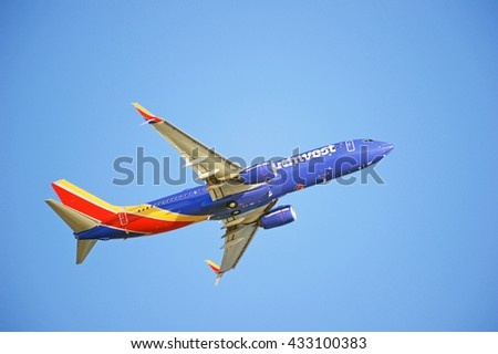 LOS ANGELES/CALIFORNIA - MAY 22, 2016: Southwest Airlines Boeing 737-8H4 is airborne as it departs Los Angeles International Airport, Los Angeles, California USA - stock photo