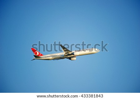 LOS ANGELES/CALIFORNIA - MAY 22, 2016: Turkish Airlines Boeing 777 is airborne as it departs Los Angeles International Airport, Los Angeles, California USA - stock photo