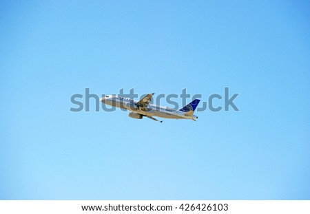 LOS ANGELES/CALIFORNIA - MAY 21, 2016: United Airlines Airbus A320 commercial aircraft is airborne as it departs Los Angeles International Airport, Los Angeles, California USA - stock photo