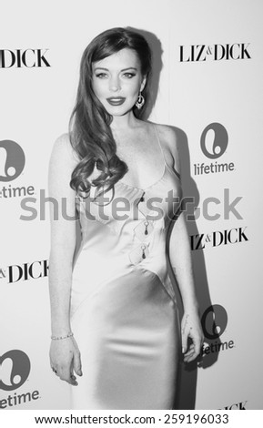 LOS ANGELES, CALIFORNIA - Monday November 20, 2012. Lindsay Lohan at the Los Angeles premiere of 'Liz & Dick' held at the Beverly Hills Hotel in Los Angeles.  - stock photo