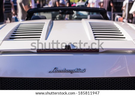 LOS ANGELES, CALIFORNIA - USA - ABRIL 6, 2014: Lamborghini on exhibition parking at an annual event Supercar Sunday Lamborghini Day on Abril 6, 2014 in Los Angeles, USA. - stock photo