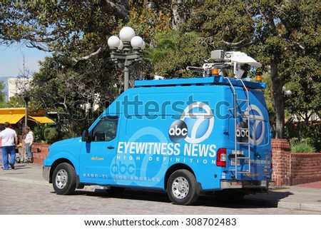 Los Angeles, California, USA - August 14, 2015: Broadcasting vehicle of American Broadcasting Company (ABC) is preparing to report a news. - stock photo
