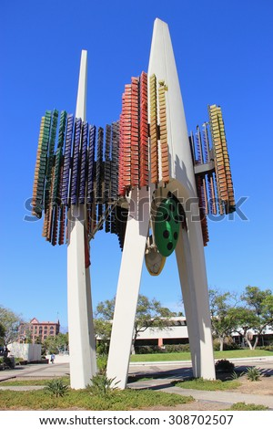 Los Angeles, California, USA - August 14, 2015: Triforium is a public sculpture, designed to use motion sensors to detect and translate into patterns of light and sound, at Fletcher Bowron Square. - stock photo