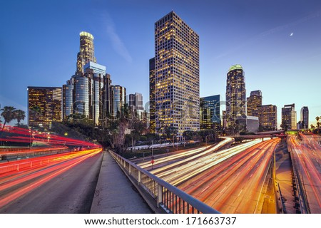 Los Angeles, California, USA downtown skyline. - stock photo