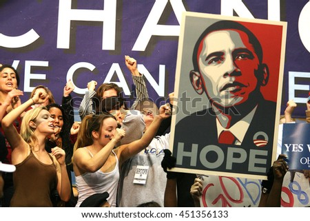 Los Angeles, California, USA; Feb 03, 2008; People cheer during a rally for Democratic Presidential candidate Barack Obama at UCLA in Los Angeles, California. - stock photo