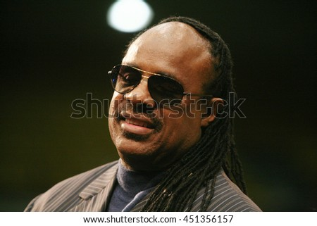 Los Angeles, California, USA; Feb 03, 2008; Stevie Wonder campaigns for Democratic Presidential candidate Barack Obama at UCLA in Los Angeles, California. - stock photo