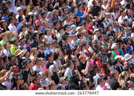 Los Angeles, California, USA - March 12, 2015: Crowd watching Water World Show at Universal Studios Hollywood - stock photo