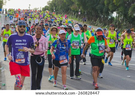 Los Angeles, California, USA - March 15, 2015: Unidentified runners participating in the 30th LA Marathon Edition - stock photo