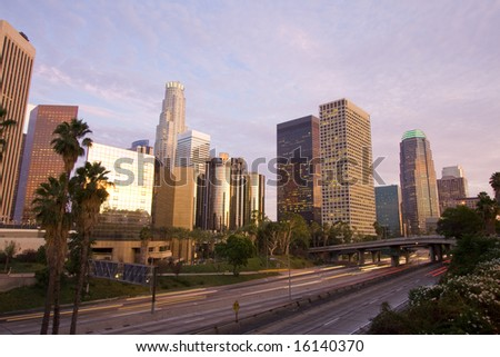 Los Angeles City at sunset - stock photo