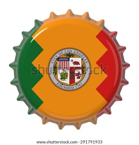 Los Angeles city flag on bottle cap. 3D rendering - stock photo