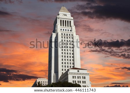 Los Angeles city hall building with sunrise sky.   - stock photo