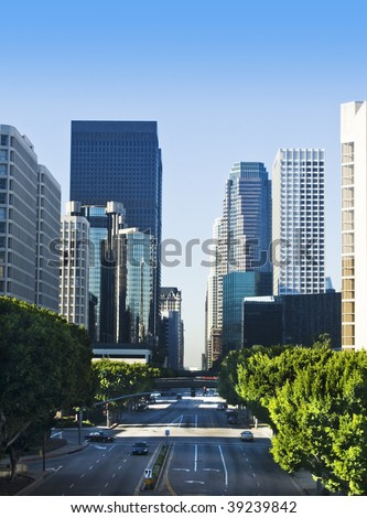 Los Angeles city skyline on a sunny day with blue sky. - stock photo
