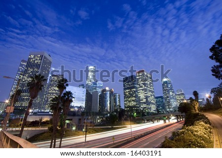 Los Angeles city wide angle panoramic - stock photo