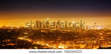 Los Angeles cityscape panorama at night. - stock photo