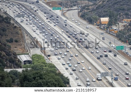 los angeles congested highway aerial view - stock photo