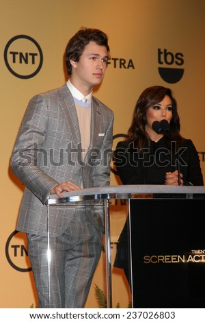 LOS ANGELES - DEC 10:  Ansel Elgort, Eva Longoria at the 21st Annual Screen Actors Guild Awards Nominations Announcement at the Pacific Design Center on December 10, 2014 in West Hollywood, CA - stock photo