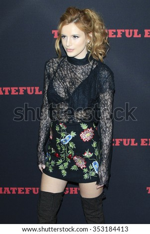 """LOS ANGELES - DEC 7:  Bella Thorne at the """"The Hateful Eight"""" LA Premiere at the ArcLight Cinemas Cinerama Dome  on December 7, 2015 in Los Angeles, CA - stock photo"""
