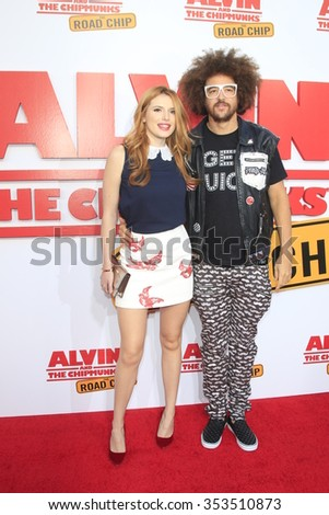 """LOS ANGELES - DEC 12:  Bella Thorne, Redfoo at the """"Alvin And The Chipmunks: The Road Chip"""" Los Angeles Premiere at the Zanuck Theater, 20th Century Fox Lot on December 12, 2015 in Los Angeles, CA - stock photo"""