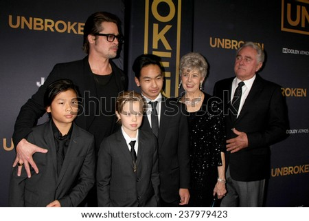 """LOS ANGELES - DEC 15:  Brad Pitt, Pax, Shiloh, Maddox Jolie-Pitt, Jane Pitt, and William Pitt at the """"Unbroken"""" - Los Angeles Premiere at the Dolby Theater on December 15, 2014 in Los Angeles, CA - stock photo"""