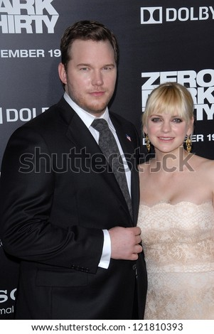 LOS ANGELES - DEC 10:  Chris Pratt, Anna Faris arrive to the 'Zero Dark Thirty' premiere at Dolby Theater on December 10, 2012 in Los Angeles, CA - stock photo