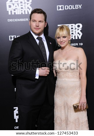 "LOS ANGELES - DEC 09:  Chris Pratt & Anna Faris arrives to the ""Zero Dark Thirty"" LA Premiere  on December 09, 2012 in Hollywood, CA - stock photo"