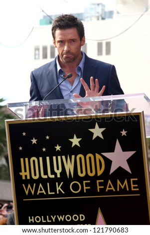LOS ANGELES - DEC 13:  Hugh Jackman at the Hollywood Walk of Fame ceremony for Hugh Jackman at Hollywood Boulevard on December 13, 2012 in Los Angeles, CA - stock photo