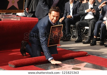 LOS ANGELES - DEC 13:  Hugh Jackman at the Hollywood Walk of Fame ceremony for Hugh Jackman on December 13, 2012 in Los Angeles, CA - stock photo