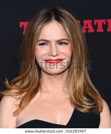 "LOS ANGELES - DEC 07:  Jennifer Jason Leigh arrives to the ""The Hateful Eight"" Los Angeles Premiere  on December 07, 2015 in Hollywood, CA.                 - stock photo"