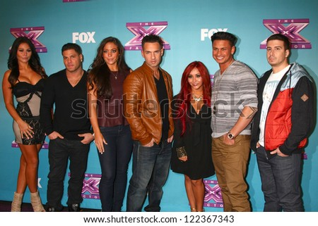 LOS ANGELES - DEC 19:  Jersey Shore Cast at the 'X Factor' Season Finale performances  show taping at CBS Television City on December 19, 2012 in Los Angeles, CA - stock photo