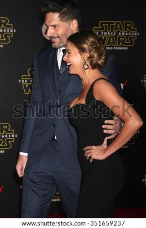 LOS ANGELES - DEC 14:  Joe Manganiello, Sofia Vergara at the Star Wars: The Force Awakens World Premiere at the Hollywood & Highland on December 14, 2015 in Los Angeles, CA - stock photo