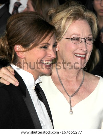 "LOS ANGELES - DEC 16:  Julia Roberts, Meryl Streep at the ""August: Osage County"" LA Premiere at Regal 14 Theaters on Dec 16, 2013 in Los Angeles, CA - stock photo"