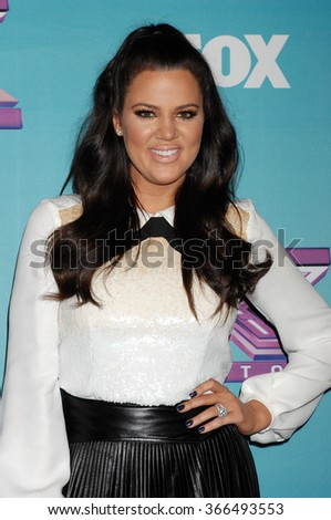 LOS ANGELES - DEC 19 - Khloe Kardashian Odom arrives at the X Factor 2012 Season Finale Day 1  on December 19, 2012 in Los Angeles, CA              - stock photo