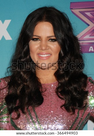 LOS ANGELES - DEC 20 - Khloe Kardashian Odom arrives at the X Factor 2012 Season Finale Day 2 on December 20, 2012 in Los Angeles, CA              - stock photo