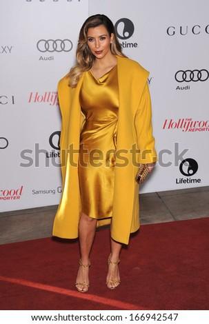 LOS ANGELES - DEC11:  Kim Kardashian arrive to Women in Entertainment Breakfast 2013  on December 11, 2013 in Hollywood, CA                 - stock photo
