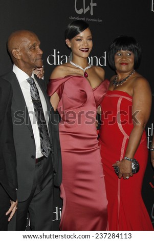 LOS ANGELES - DEC 11:  Lionel Braithwaite , Rihanna, Monica Braithwaite at the Rihanna's First Annual Diamond Ball at the The Vineyard on December 11, 2014 in Beverly Hills, CA - stock photo
