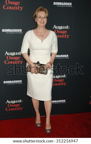 LOS ANGELES - DEC 16:  Meryl Streep arrives at the August Osage County Los Angeles Premiere  on December 16, 2013 in Los Angeles, CA                 - stock photo