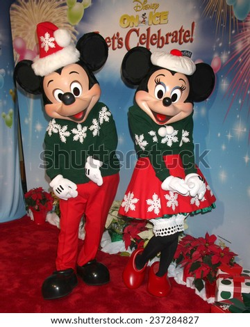 "LOS ANGELES - DEC 11:  Mickey Mouse, Minnie Mouse at the ""Disney on Ice"" Red Carpet Reception at the Staples Center on December 11, 2014 in Los Angeles, CA - stock photo"