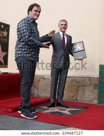 LOS ANGELES - DEC 1:  Quentin Tarantino, Christoph Waltz at the Christoph Waltz Hollywood Walk of Fame Star Ceremony at the Hollywood Boulevard on December 1, 2014 in Los Angeles, CA - stock photo