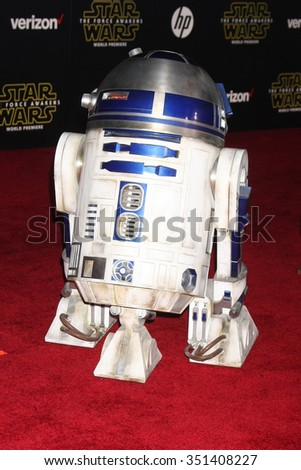 LOS ANGELES - DEC 14:  R2-D2 at the Star Wars: The Force Awakens World Premiere at the Hollywood & Highland on December 14, 2015 in Los Angeles, CA - stock photo