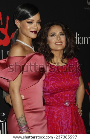 LOS ANGELES - DEC 11:  Rihanna, Salma Hayek at the Rihanna's First Annual Diamond Ball at the The Vineyard on December 11, 2014 in Beverly Hills, CA - stock photo