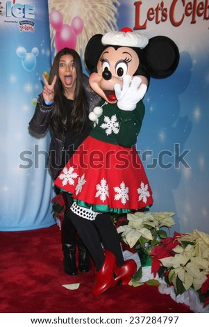 """LOS ANGELES - DEC 11:  Roselyn Sanchez, Minnie Mouse at the """"Disney on Ice"""" Red Carpet Reception at the Staples Center on December 11, 2014 in Los Angeles, CA - stock photo"""