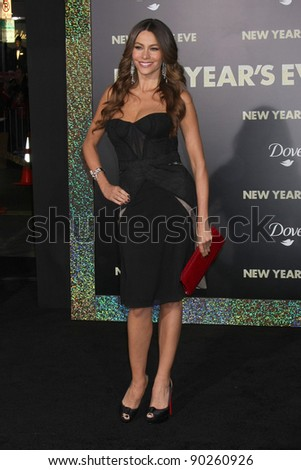 """LOS ANGELES - DEC 5:  Sophia Vergara arrives at the """"New Year's Eve"""" World Premiere at Graumans Chinese Theater on December 5, 2011 in Los Angeles, CA - stock photo"""