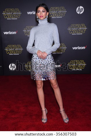 "LOS ANGELES - DEC 14:  Zendaya Coleman arrives to the ""Star Wars: The Force Awakens"" World Premiere  on December 14, 2015 in Hollywood, CA.                 - stock photo"