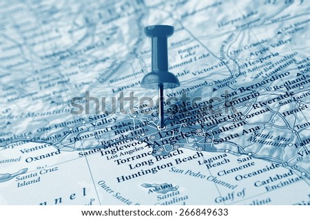 Los Angeles  destination in the map - stock photo