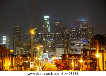 Los Angeles downtown cityscape at the night time - stock photo