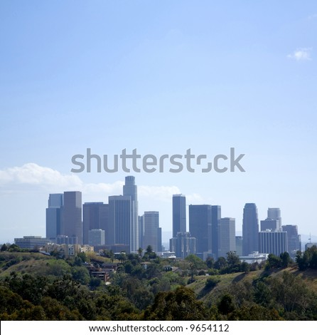 Los Angeles Downtown Skyline Panoramic - stock photo